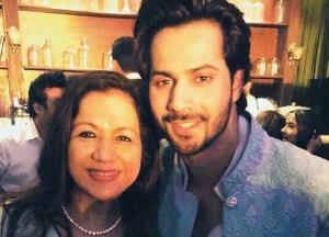 Varun Dhawan gets his mother's blessings on sets of Coolie No. 1