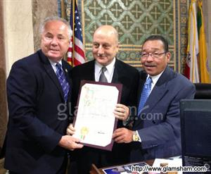 Actor Anupam Kher honoured with City Proclamation in LA