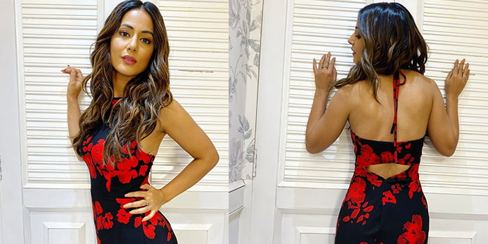 Hina Khan reveals her body type and slays in red and black floral gown