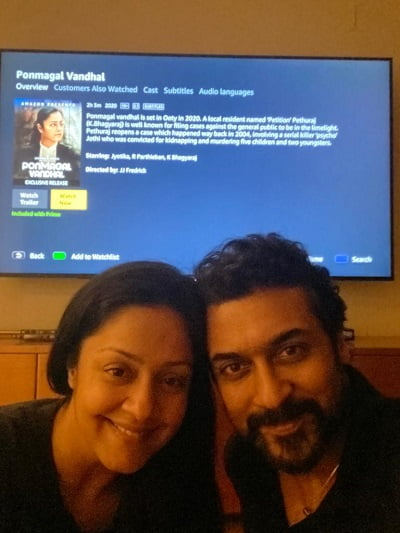 Suriya and Jyotika attend their first ever virtual fan meet for Ponmagal Vandhal