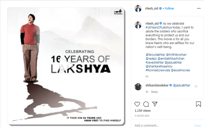 Ritesh Sidhwani shares a special message for the soldiers marking #16yearsofLakshya