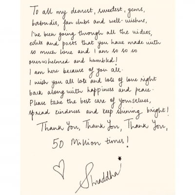 Shraddha Kapoor pens handwritten note in 3 languages for fans