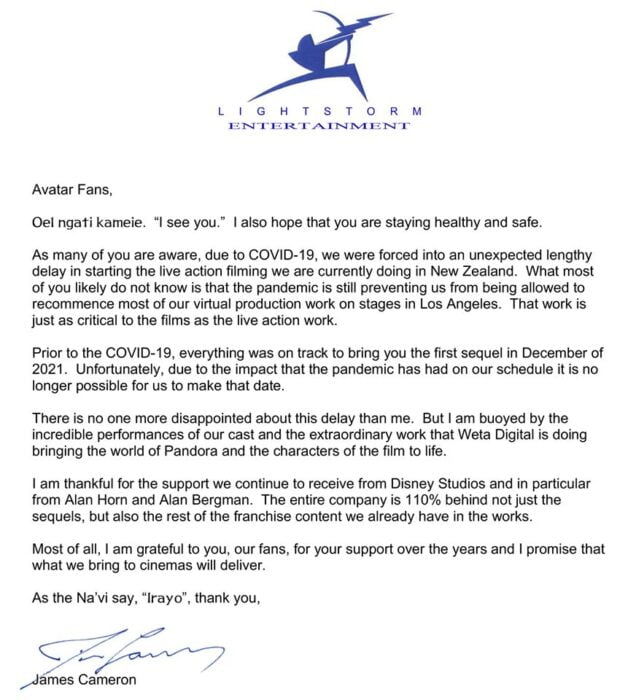 james Cameron letter to Avatar fans