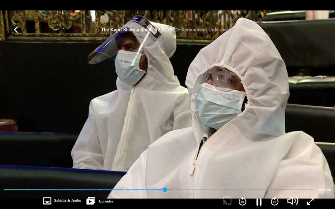 The crew in PPE kits as live audience