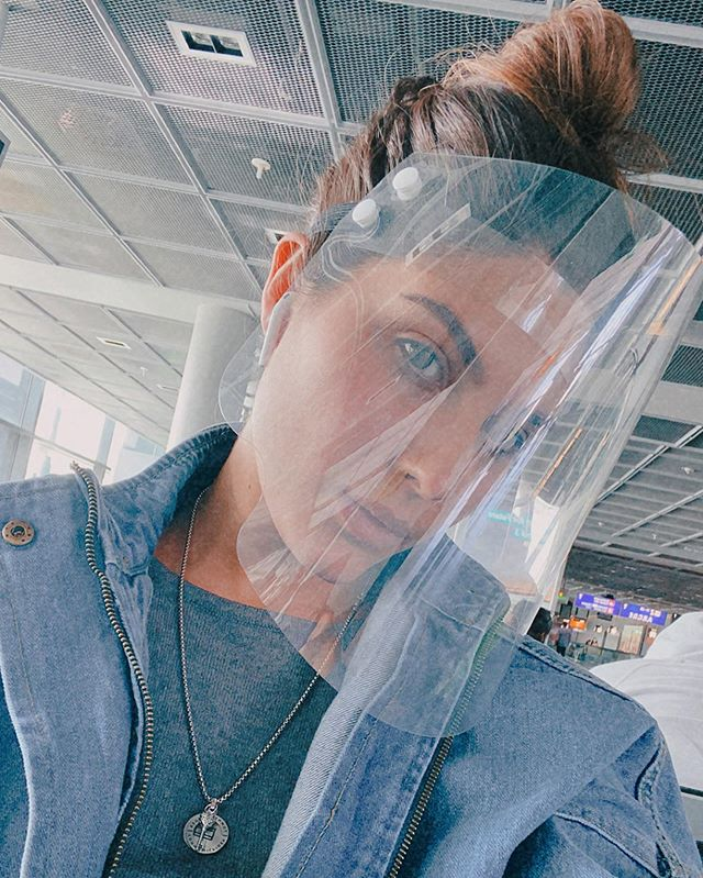 Elnaaz Norouzi with a complete face cover