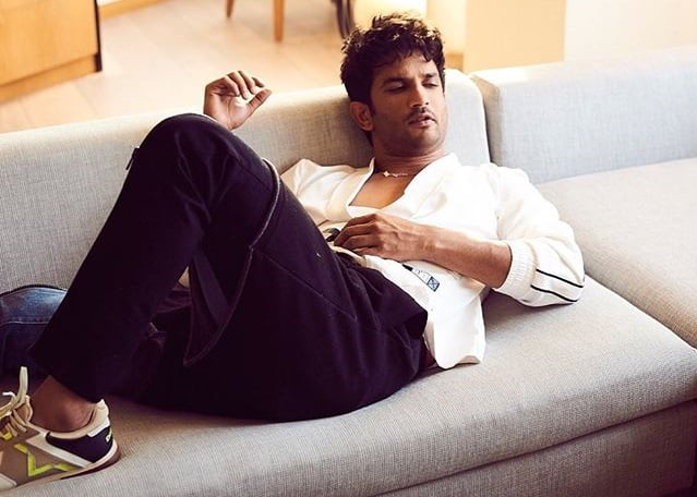 Late Sushant Singh Rajput on couch