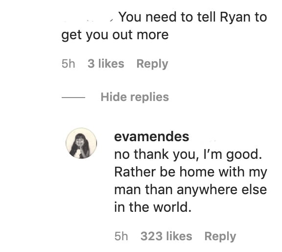 Eva Mendes shuts down a troll's comment directed at her and Ryan Gosling