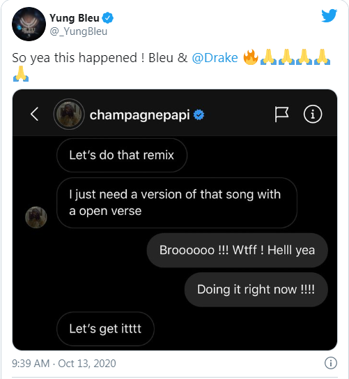 Yung Bleu, Drake team up for new single 'You're Mines Still' remix