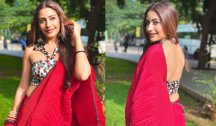 Surbhi Chandna flaunts her red hot saree look from the sets of Naagin 5