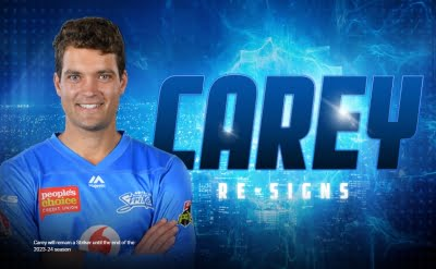 BBL: Carey to stay with Adelaide Strikers for another four years