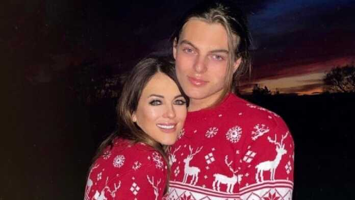 Elizabeth Hurley and lookalike son Damian twin in matching Christmas jumpers