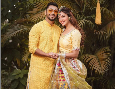 Gauahar Khan and Zaid Darbar twin in yellow outfits for pre wedding ceremony