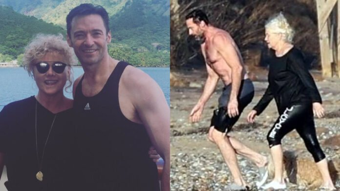 Hugh Jackman goes for a chilly swim with wife Deborra-Lee Furness