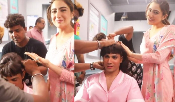 Sara Ali Khan's new best friend 'VARUNA Dhawan from the sets of Coolie No 1