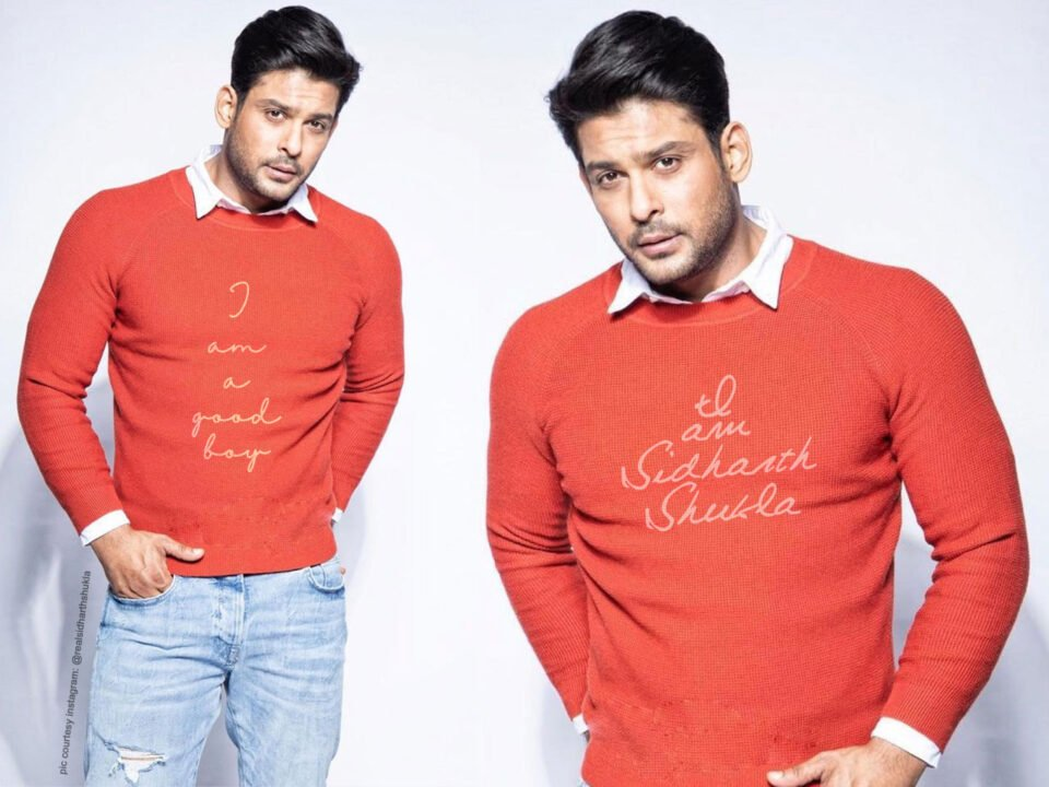 Sidharth Shukla is seen wearing a sweater-shirt look paired with denim