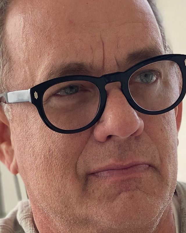 Tom Hanks close-up with specs in an instagram post