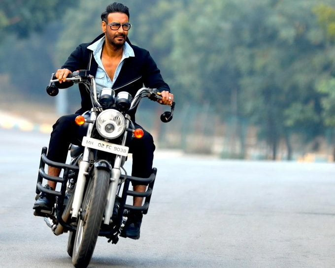 Ajay Devgn on a Motorcycle in an instagram post