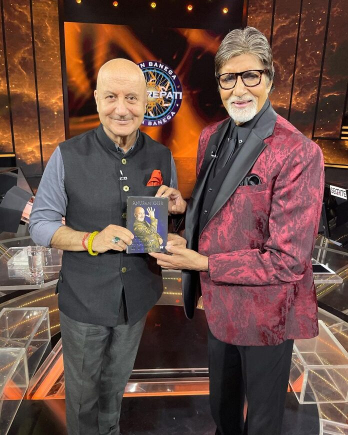 Bollywood actor Anupam Kher on Tuesday presented a copy of his latest book 'Your Best Day Is Today' to superstar Amitabh Bachchan.