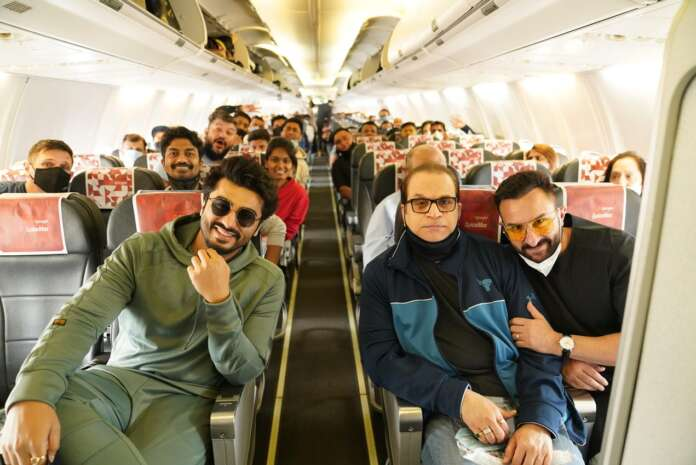 Bhoot Police team take off to Jaisalmer on a chartered spicejet flight