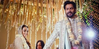 Natasha Dalal with Varun Dhawan wedding pic
