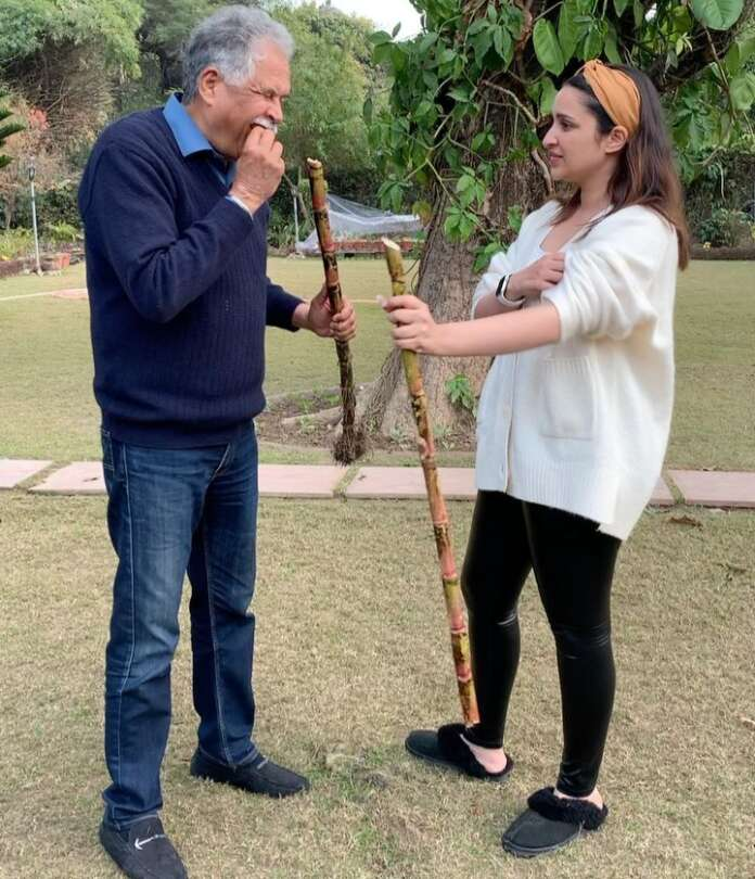 Parineeti Chopra with her father trying a hand at peeling sugar cane