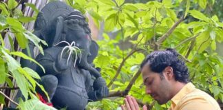 Varun Dhawan praying Lord Ganesh in an instagram post