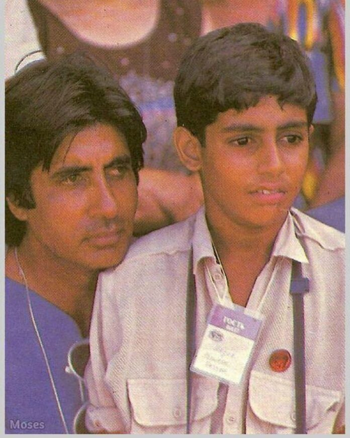Father Amitabh Bachchan with young Abhishek Bachchan (photo credit: instagram)