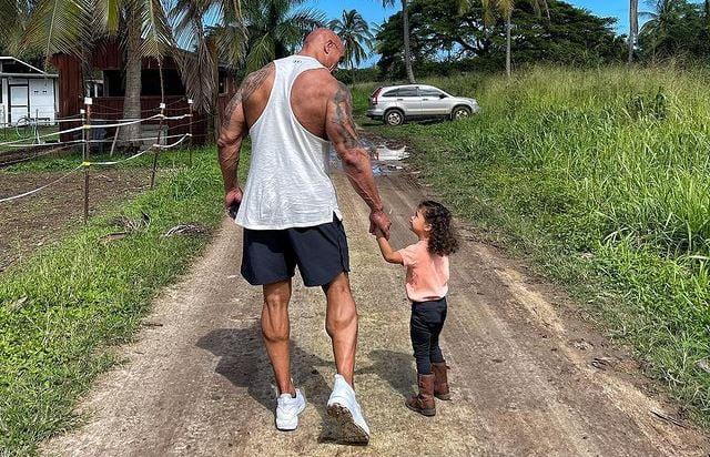 Dwayne Johnson with daughter