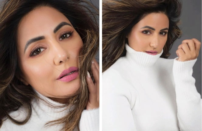Hina Khan flaunting her winter fashion in white crop top