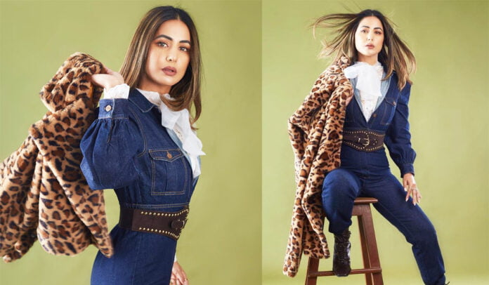 Hina Khan giving all Boss Lady vibes in denim jumpsuit