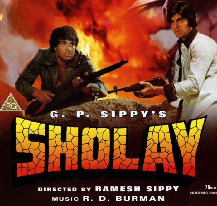 Dharmendra & Amitabh Bachchan in a Sholay Poster