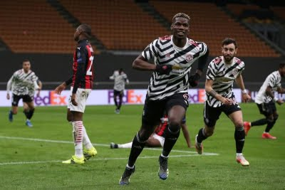 Pogba goal gives United win over Milan in Europa League