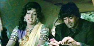 Hema Malini with Dharmendra in 'Sholay'