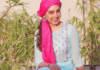 Niti Taylor glows in sky blue dress paired with pink turban
