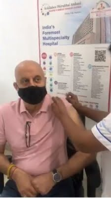 Anupam Kher takes first dose Covid vaccine