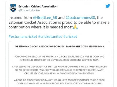 Exemplary: Estonian cricket gives Rs.1 lakh to India to fight Covid