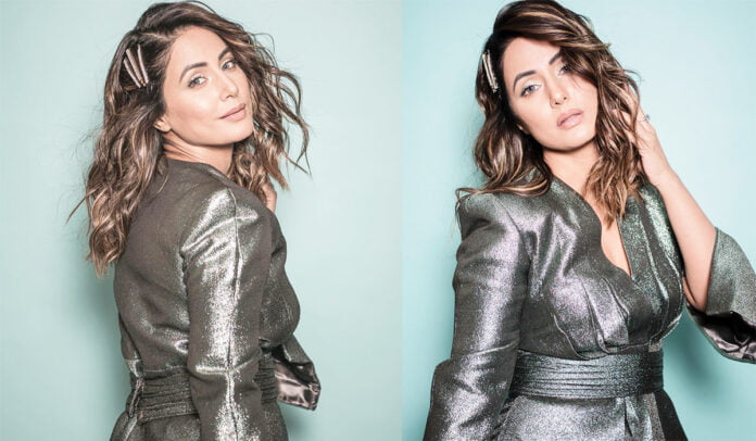 Hina Khan looks sparkling hot in dark grey outfit