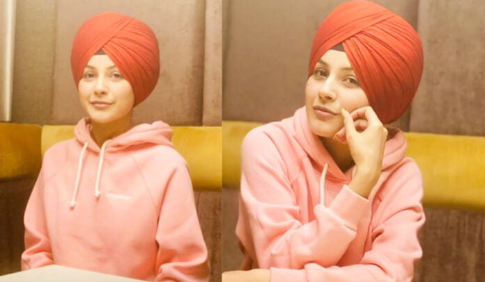 Shehnaaz Gill dons a Sardarji look in red turban