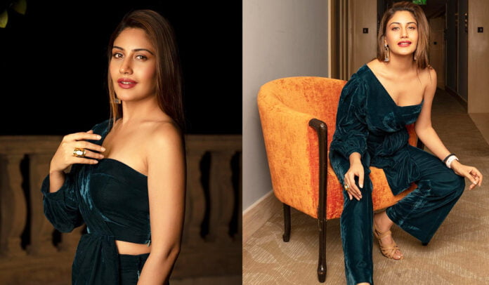 Surbhi Chandna's sizzling look in one-shoulder velvet outfit