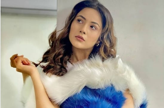 Shehnaaz Gill looks stunning in white and blue fur outfit