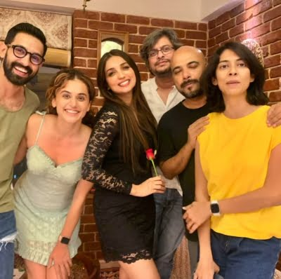 Kanika Dhillon's posts goofy party pics with Taapsee Pannu and Vikrant Massey