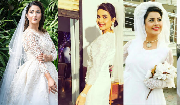 Hina Khan, Jasmin Bhasin, Shehnaaz Gill and other celebs slaying in white Wedding Gowns