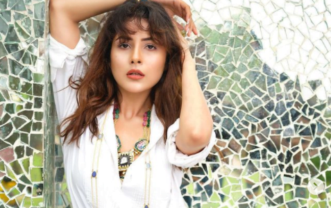 Shehnaaz Gill looks stunning in white shirt and printed pants