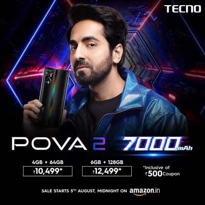 Tecno POVA 2 with massive 7000mAH battery launched at just Rs 10,999