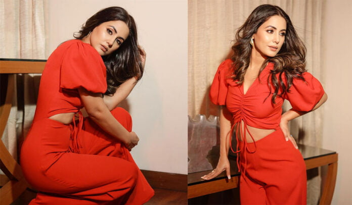 Hina Khan looks sizzling hot in red outfit