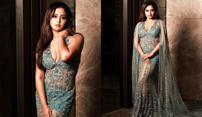 Rashami Desai flaunting her green embroidered gown