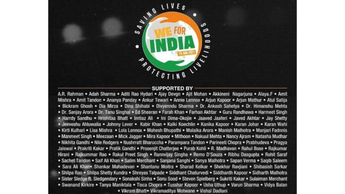 Reliance Entertainment Covid-19 fundraiser 'We For India'