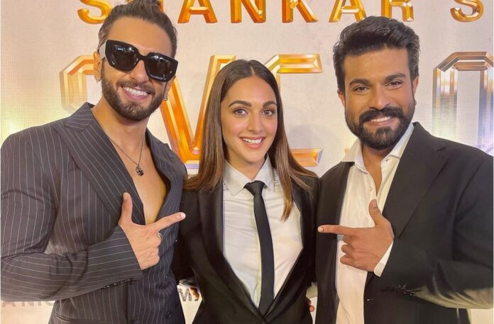 Ranveer Singh, Kiara Advani and Ram Charan all suited in black for the launch of RC15 SVC50 poster