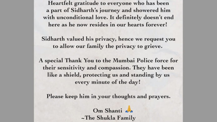Sidharth Shukla's family issues appeal: Respect our privacy
