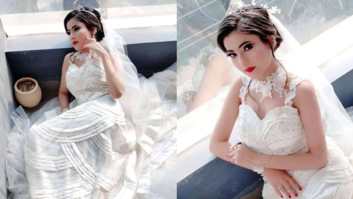 Leaza in Christian Bridal attire for a cosmetic academy